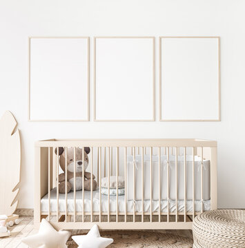 Poster frame mock up in child bedroom, Scandinavian unisex nursery design, 3d render