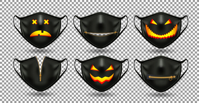 A set of protective comic black masks. For the coronavirus party, Halloween and other fun. 3D realistic illustration. Isolated on transparent background. Vector.