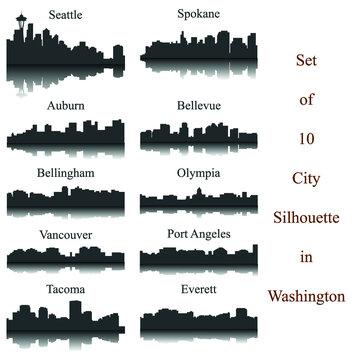 Set of 10 City Silhouette in Washington ( Seattle, Olympia, Auburn, Vancouver, Takoma, Spokane, Port Angeles, Bellingham, Bellevue, Everett )