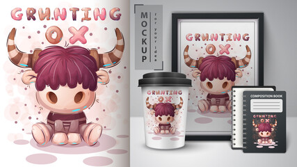 Grunting ox - poster and merchandising.