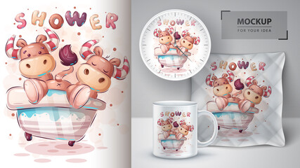 Crazy cow on the bathroom - poster and merchandising.