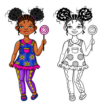 African small girl with hair style in two puffs, 5-10 years old. Additional illustration in black and white for colored page background