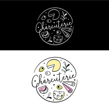 Charcuterie board logo for grazing boxes, appetizing tables or catering companies. Top view. Editable stroke