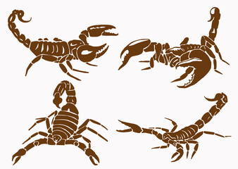 Graphical vintage set of scorpions , sepia illustration