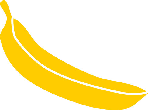 Yellow banana silhouette in flat style