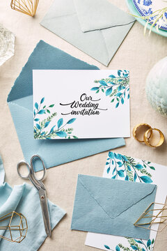 wedding invitation with envelopes