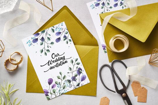 Wedding invitations preparation
