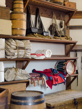 Traditional shelves stocked with historic colonial items