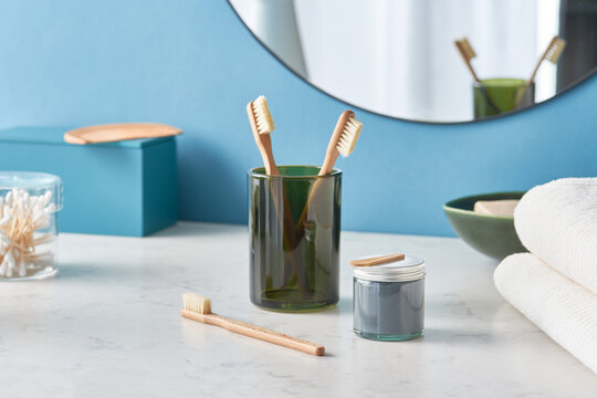 Ecological dental care tools near towels and swabs