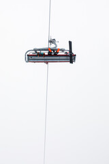 Ski lift on a foggy day