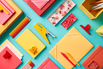 Red an yellow stationery composition