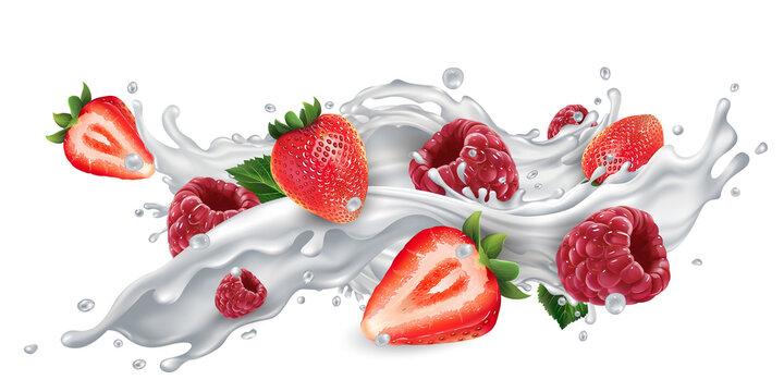 Strawberries and raspberries in a milk or yogurt splash.