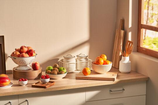 Ripe fruits on kitchen cupboard