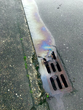Leaking car oil draining into street sewer during rain storm