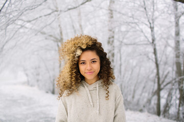 Teen Girl In Snow