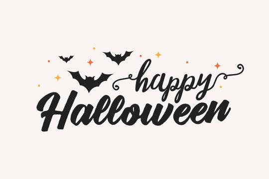 Happy Halloween Text, Halloween Banner, Vector Illustration Background