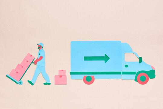 Bearded delivery man unloading van