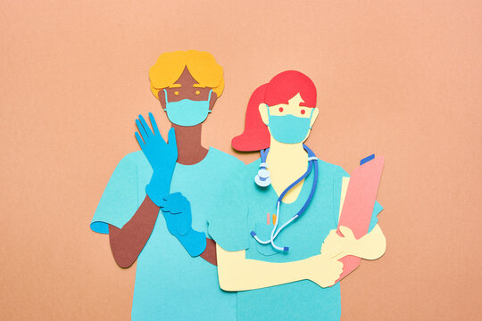 Diverse medical practitioners in masks and gloves
