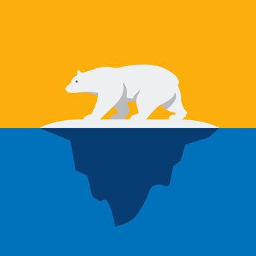 Polar Bear On Iceberg Vector Illustration