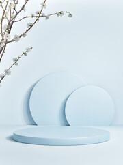 Abstract blue color mock-up podium for product presentation, 3d render, 3d illustration