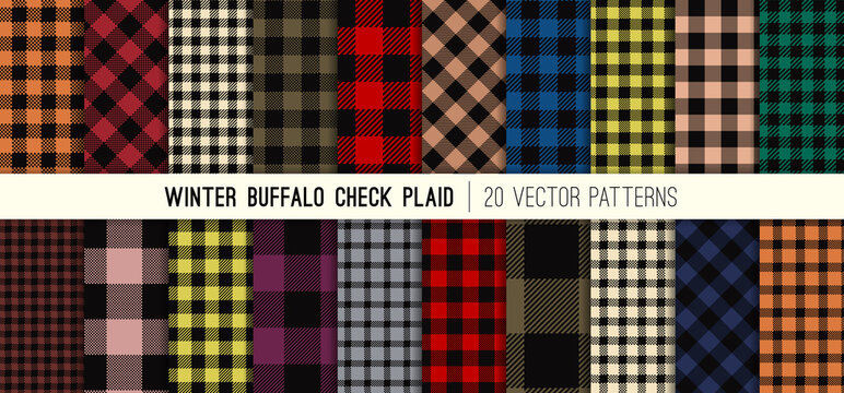 Winter Colors Buffalo Check Plaid Vector Patterns. Fall 2020 Winter 2021 Fashion Forecast. Lumberjack Flannel Shirt Fabric Textures. Repeating Pattern Tile Swatches Included