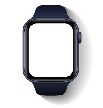 Anapa, Russian Federation - September, 15, 2020: Apple Watch.  Smartwatch, Clock mock up with white screen. Illustration for app, web, presentation, design.