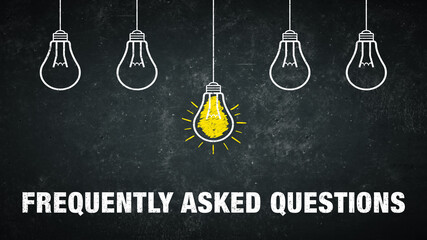 Term Frequently Asked Questions on a rustic background with 5 light bulbs.