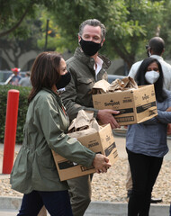 Democratic U.S. vice presidential nominee Senator Harris and California Governor Newsom deliver food to firefighters in Fresno
