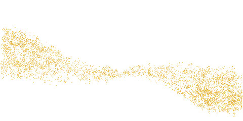 Obraz Horizontal wavy strip sprinkled with crumbs golden texture. Background Gold dust on a white background. Sand particles grain or sand. Vector backdrop golden path pieces grunge for design illustration - fototapety do salonu