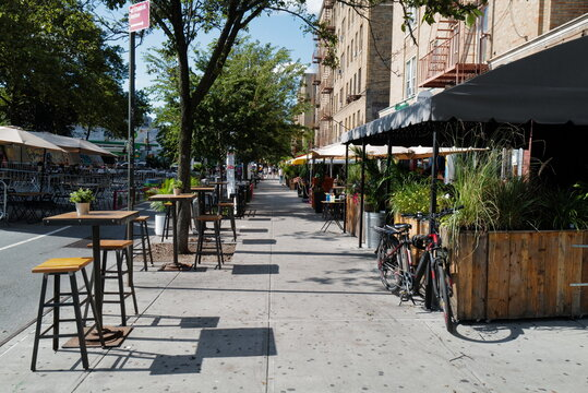 Sept 11, 2020 Outdoor dining at Dyckman Street, Inwood, New York City after re-opening from Covid-19, New York City, USA.