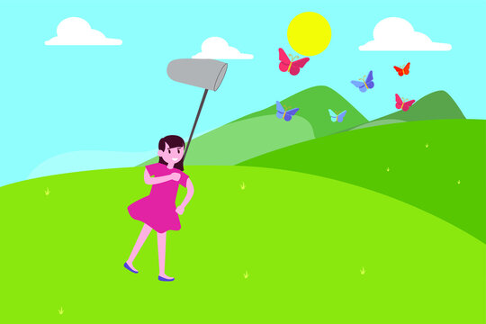 Kids in nature vector concept: Little girl chasing butterfly in the meadow while holding butterfly net