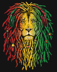 Pen and inked Rastafarian Lion digital illustration on black background.