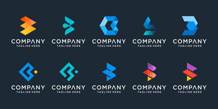 Set of creative monogram letter B logo design template. icons for business of technology, digital, data, simple.