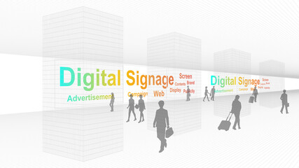 Digital signage installed in airports and underground passages