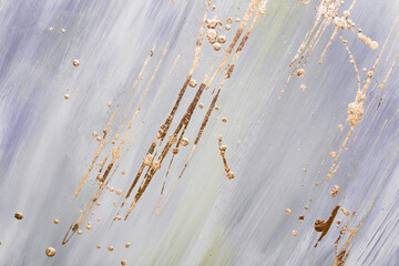 Abstract Gold potal brush strokes and stains on lilac pastel marble background or texture