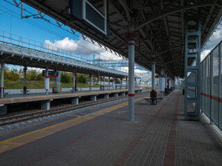 MOSCOW,RUSSIA/ SEPTEMBER 15,2020; Empty modern railway station in city