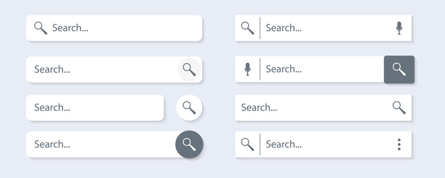 Search Bar for ui, design and web site. Search Address and navigation bar icon.  Vector collection of search form templates for websites