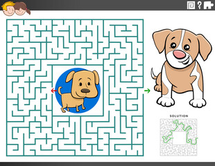 maze educational game with puppy characters