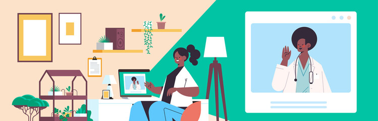 Poster Snelle auto s doctor on laptop screen consulting african american female patient online consultation healthcare service medicine medical advice concept living room interior horizontal portrait vector illustration