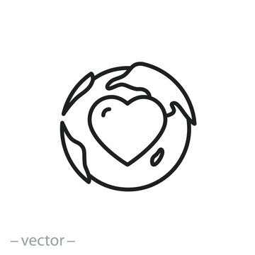 love world icon, globe with heart, planet earth care, thin line simple web symbol on white background