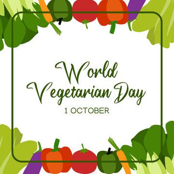 Vector graphic of world vegetarian day good for world vegetarian day celebration. flat design. flyer design.flat illustration.