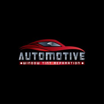 automotive car window tint logo design template modern vector