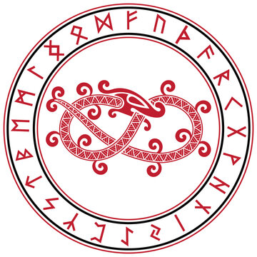 Scandinavian design. The mythical serpent Jormungand and a circle of ancient Scandinavian rune symbols