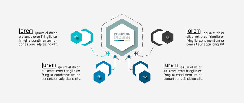 Structure display or report various work processes by hexagonal design. vector illustration.