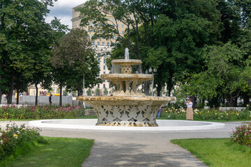 Moscow, Russia - August 9, 2020: Fountain in Gorky park. Touristic place in Moscow.