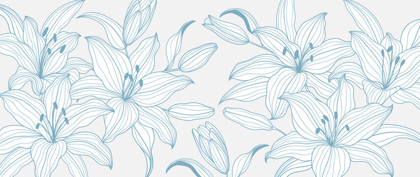 luxury gold floral line art wallpaper vector. Exotic botanical background, Lily flower vintage boho style for textiles, wall art, fabric, wedding invitation, cover design Vector illustration.