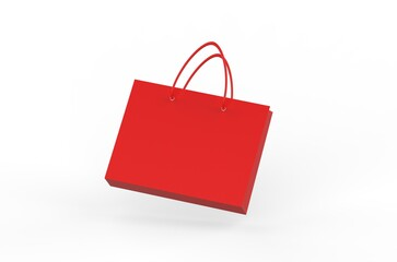 Red shopping paper bag, carry bag mockup template on isolated white background, 3d illustration