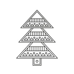 Christmas tree for coloring in a classical vector design
