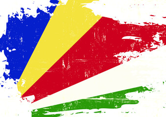 Seychelles scratched Flag. A grunge flag of Seychelles for you
