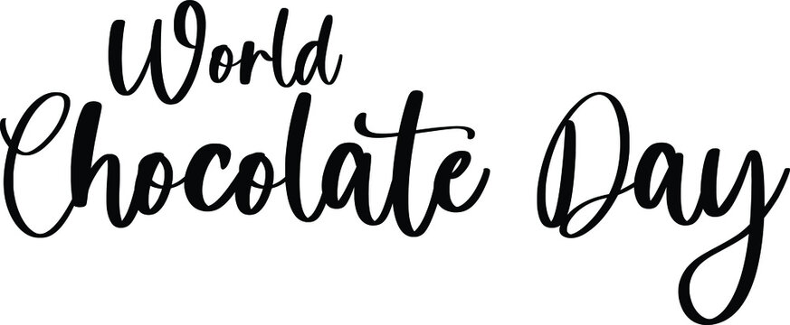 World Chocolate Day Typography Black Color Text On White Background
